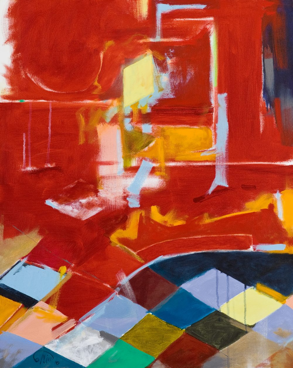 Red Room Harlequin,2010 - 30 x 24 inches Acrylic and irredescent acrylic on canvas