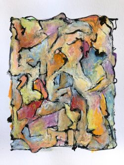 04-07-19-12:22PM Gouache and India ink on paper, 7 X 10 inches