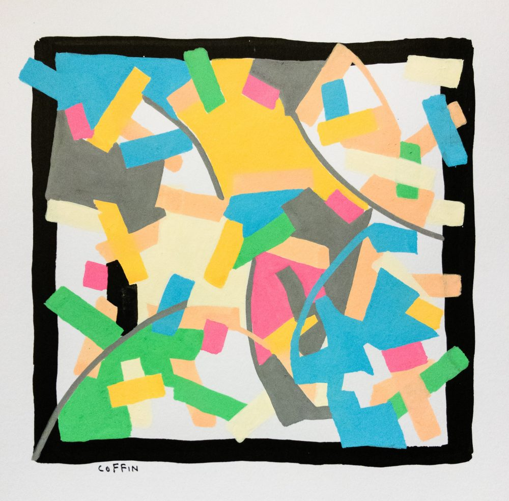 01-04-20-9:05pm Acrylic pen on paper, fountain pen and ink, roughly 5 x 5 inches